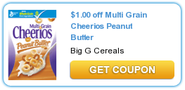 Printable Manufacturer Coupon: Save $1/1 on Multi Grain Cheerios Peanut Butter