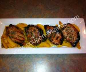Bourbon Grilled Pork Chops with Peaches