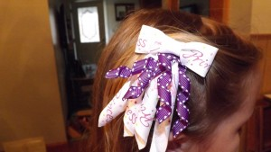 Homemade hair bows finished