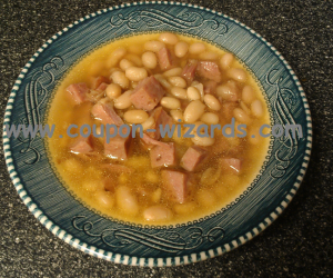 Ham And Beans Slow Cooking In The Crock Pot
