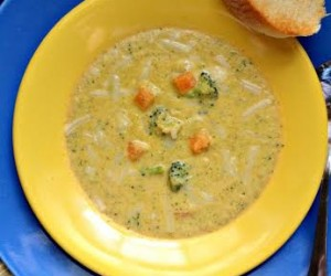 Guilt Free Broccoli, Cheddar, & Sweet potato Soup