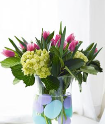 Easy Easter Egg Tulips & Hydrangeas Arrangement