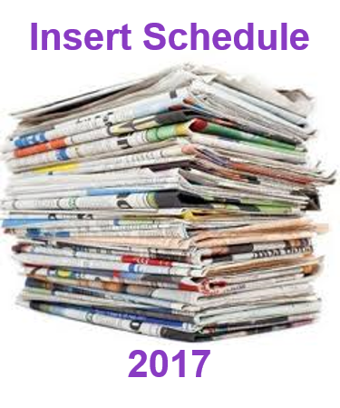 Sunday Coupon Insert Schedule 2017