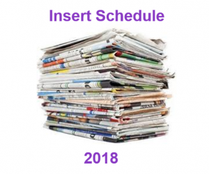 Sunday Coupon Insert Schedule for 2018