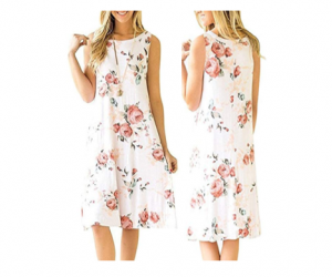 Sleeveless Dresses Damask Floral Prints